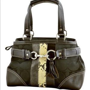 E06Q-10262 Hobo Purse Python Leather Black Canvas